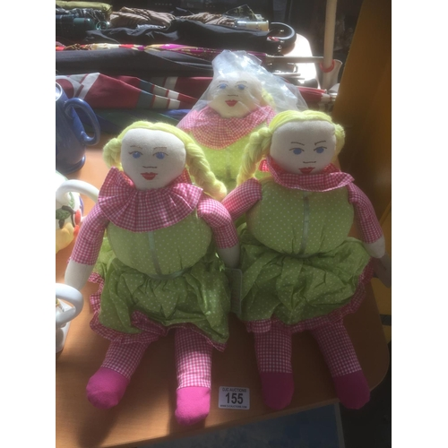 155 - 3 x Doll Doorstops - New...