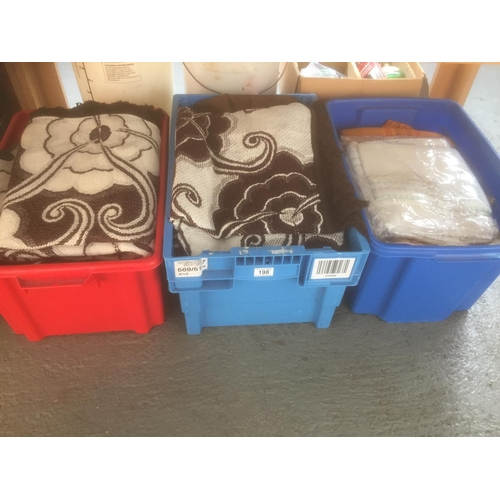 198 - 3 x Boxes of Linens & Blankets...