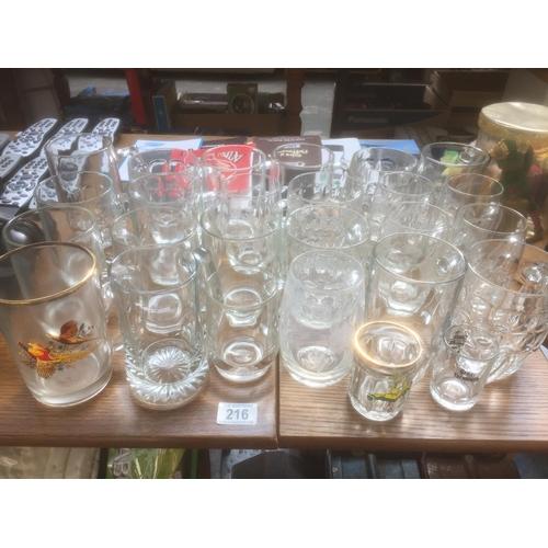 216 - Quantity of Glass Tankards...