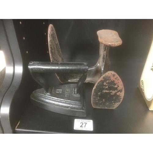 27 - Cast Shoe Last & Cast Flat Iron...