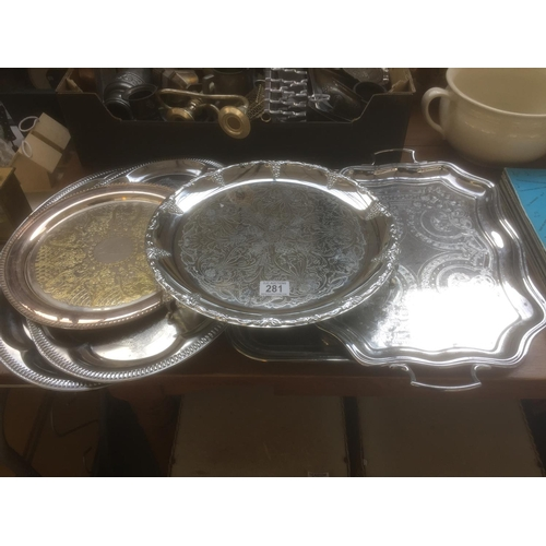 281 - Quantity of Silver Plate Trays...