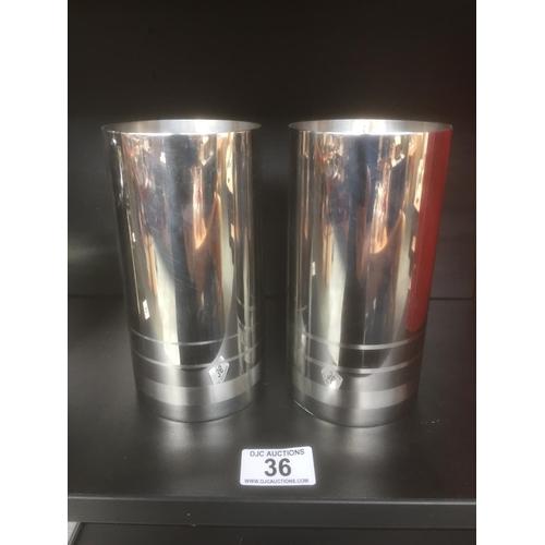 36 - 2 x Silver Plate Tudor Knight Vases...