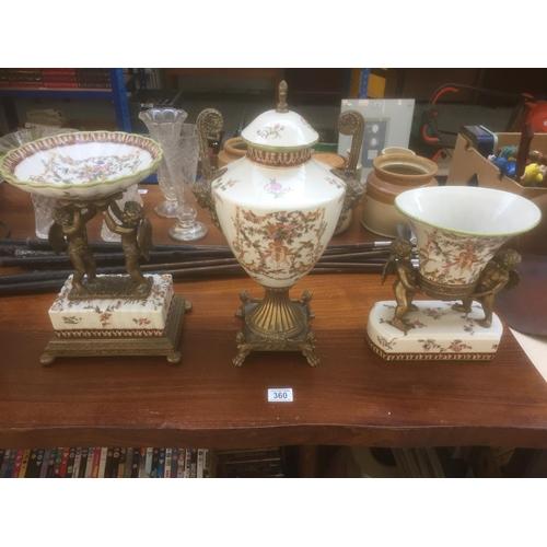 360 - Wong Lee Porcelain & Brass 3 Piece Centrepiece Set - Dated 1895 - Very Rare Set...