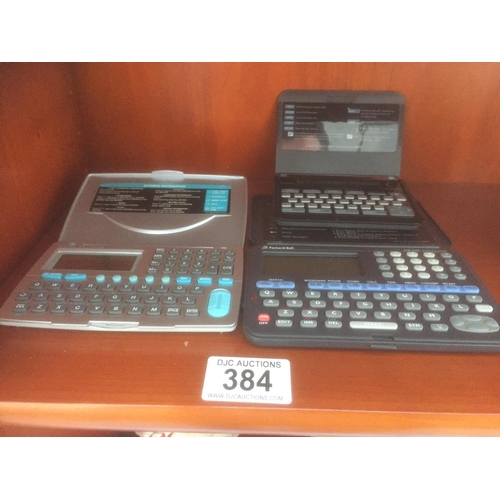384 - 3 x Electronic Organisers...