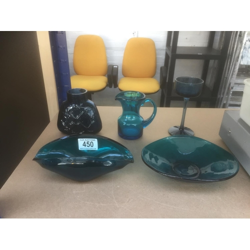 450 - 5 x Pieces of Blue Glassware...