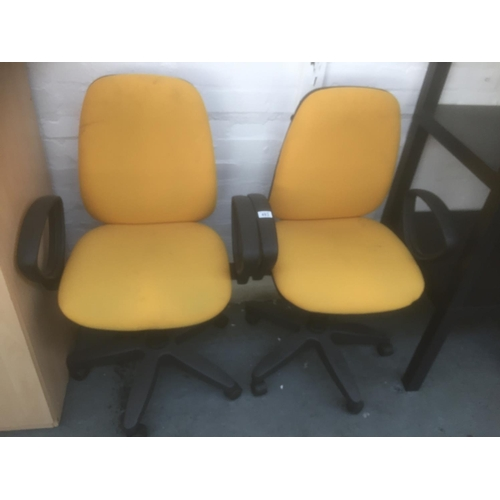 493 - 2 x Yellow Office Chairs...