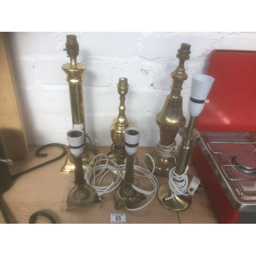 55 - Quantity of Brass Lamps...