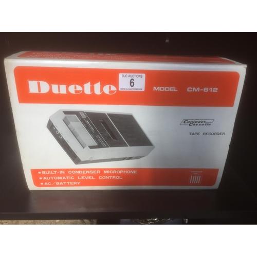 6 - Vintage Duette CM-612 Tape Recorder...