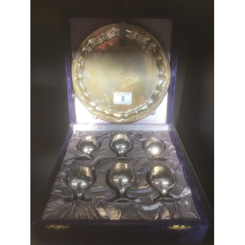 8 - Cased Silver Plate Goblets & Tray...
