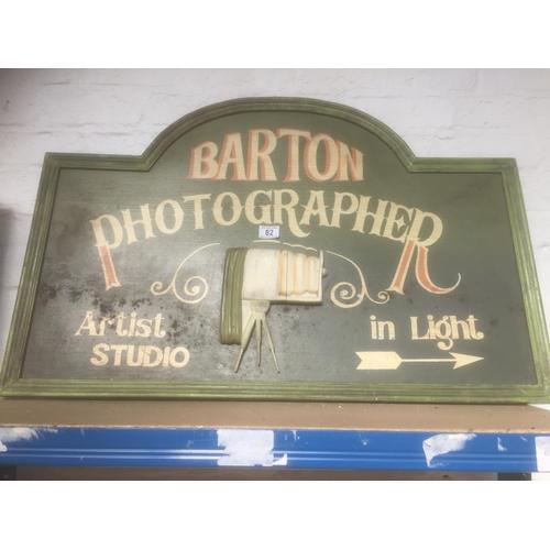 82 - Vintage Wooden Barton Photographer Shop Sign...
