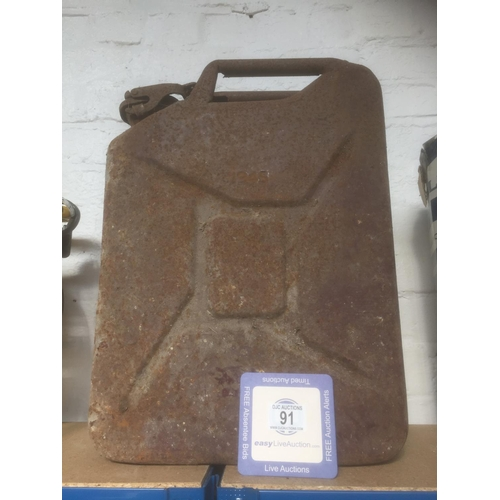 91 - 20L Metal Petrol Can - Dated 1945...