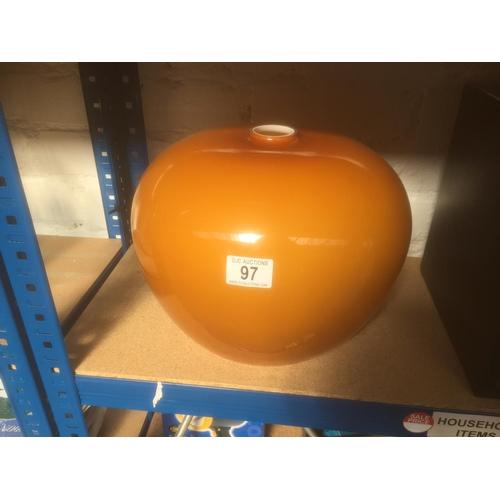 97 - Vintage Orange Glass Light Shade - New with Box...
