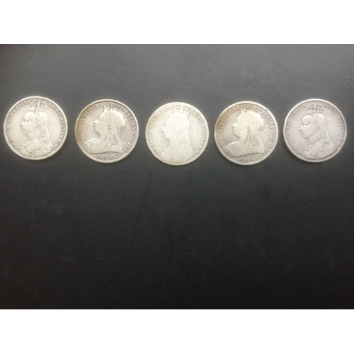 723 - 5 x Victorian One Shilling Silver 925 Coins - Dated 1889, 1890, 1892, 1899, 1900...