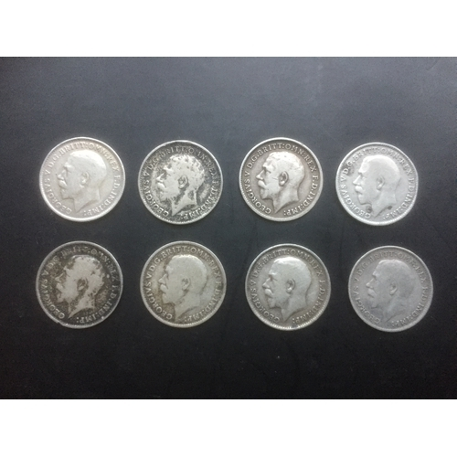 729 - 8 x George V Three Pence Silver 925 Coins - Dated 1912, 1913, 1914, 1915, 1916, 1917, 1918, 1919,...
