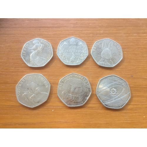 739 - 6 x Beatrix Potter 50p Coins...