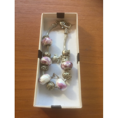 738 - Pandora Style Bracelet with Charms...