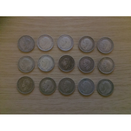 733 - 15 x 1920 to 1946 Three Pence 0.50 Silver Coins...
