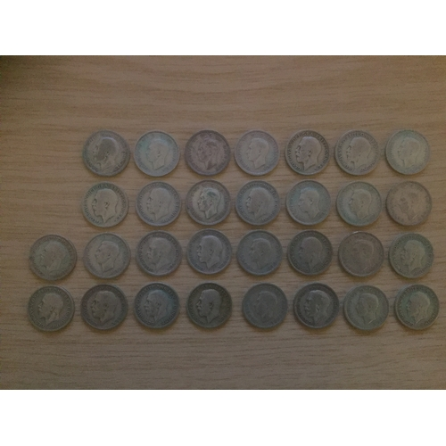 732 - 30 x 1920 to 1946 Six Pence 0.50 Silver Coins...