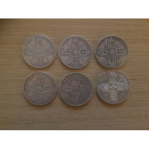 726 - 6 x George V Florin Silver 925 Coins - Dated 1911, 1912, 1914, 1915, 1917, 1918,...