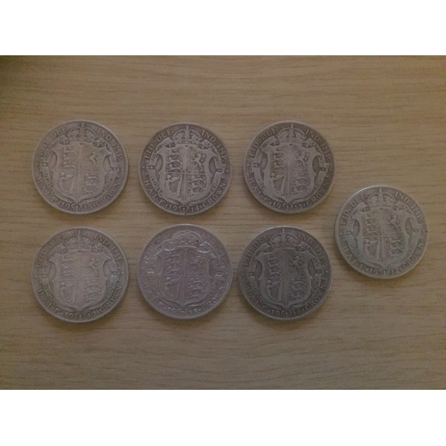 725 - 7 x George V Half Crown Silver 925 Coins - Dated 1912, 1913, 1914, 1915, 1916, 1918, 1919,...