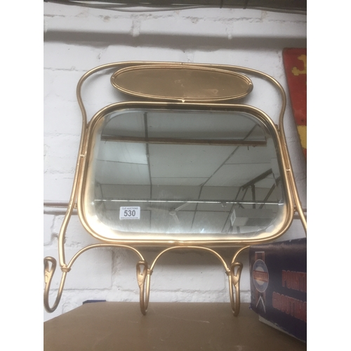 530 - Gold Hallway Mirror & Coat Hooks...
