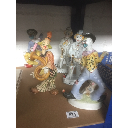 534 - 5 x Ceramic Clowns...