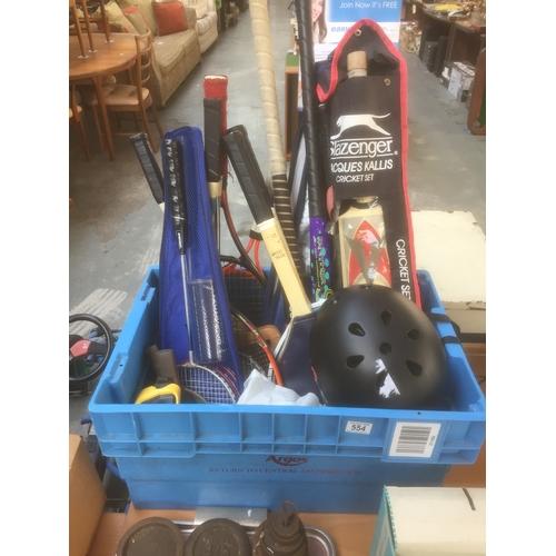 554 - Box of Tennis/Cricket/Hockey, etc...