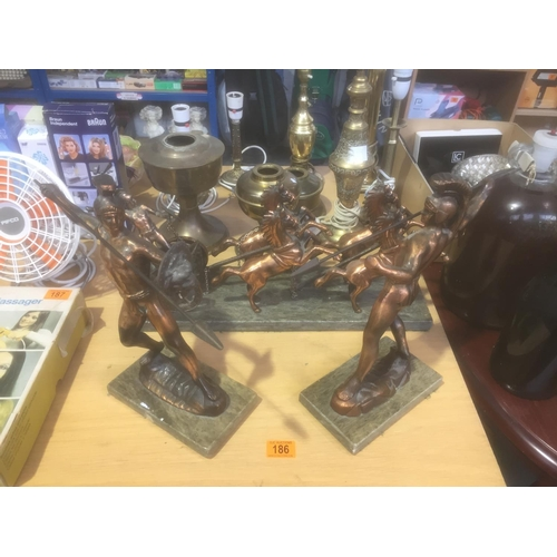 186 - Heavy Copper Spartan Figures (3 piece set)...