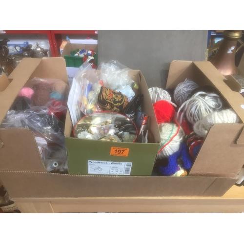 197 - Box of Textiles, Buttons, etc...