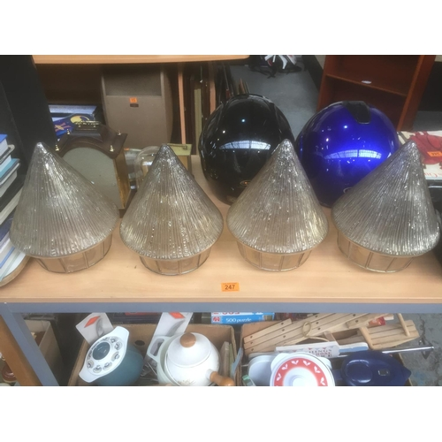 247 - 4 x Retro Glass Light Shades...