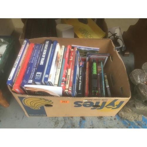 263 - Box of Train Books, DVD's, Model Train, etc...