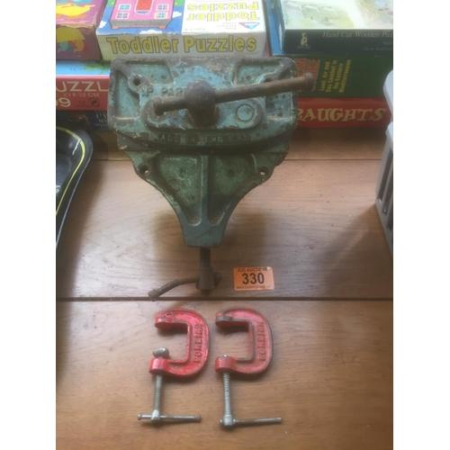 330 - Parkinson 42A Vice & 2 G Clamps...