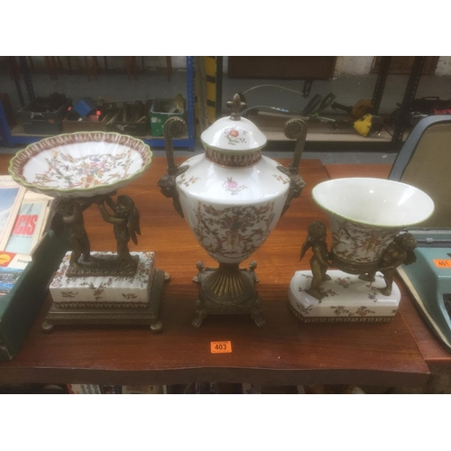 403 - Wong Lee 3 Piece Centrepiece Set - Dated 1895...