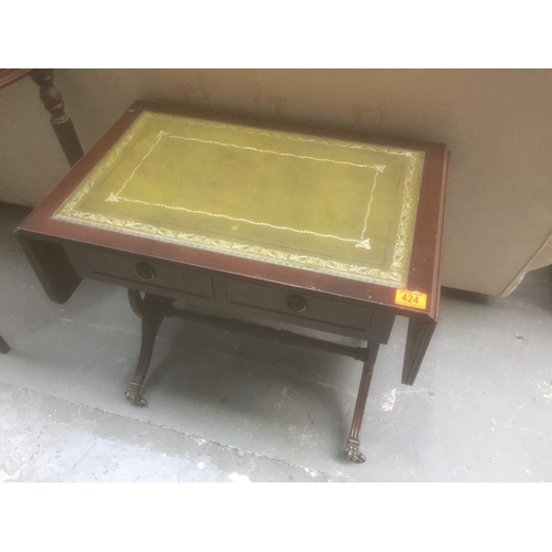 424 - Leather Topped Drop Leaf Table...