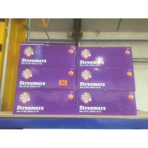 494 - 6 x Boxes of streamers - New...