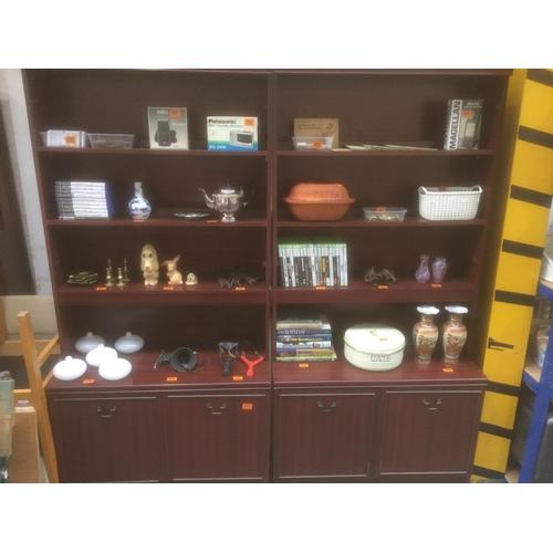 515 - 2 x Mahogany Display units (doors in office)...