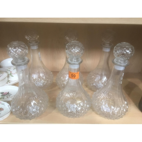 59 - 6 x Glass Decanters...