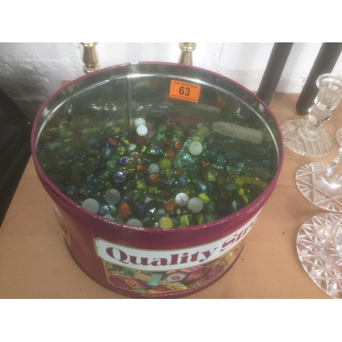 63 - Tin of Vintage Marbles...