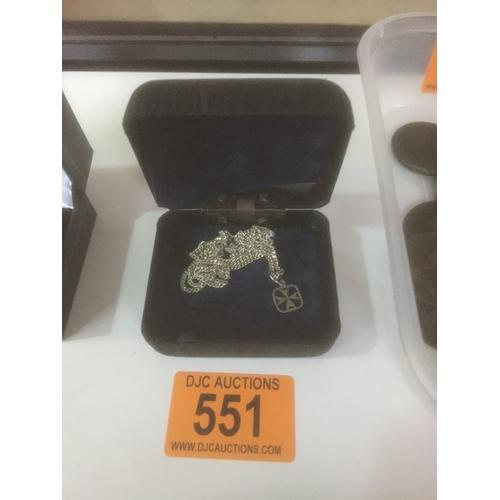 551 - Silver Chain & Pendant...