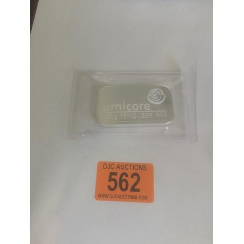 562 - Umicore 100gram Silver Bar .999 Silver...