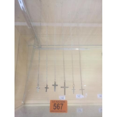 567 - 6 x .925 Silver Chains & Crucifix's...