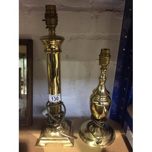 130 - 2 x Brass Lamps...
