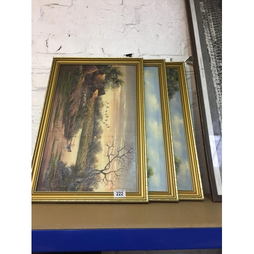 222 - 3 x Gilt Framed Pictures...
