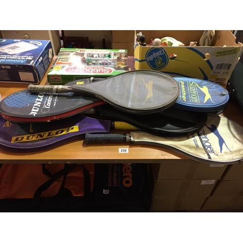 239 - Quantity of Tennis Rackets...