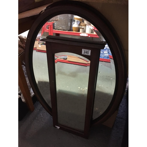 245 - 2 x Oak Mirrors...