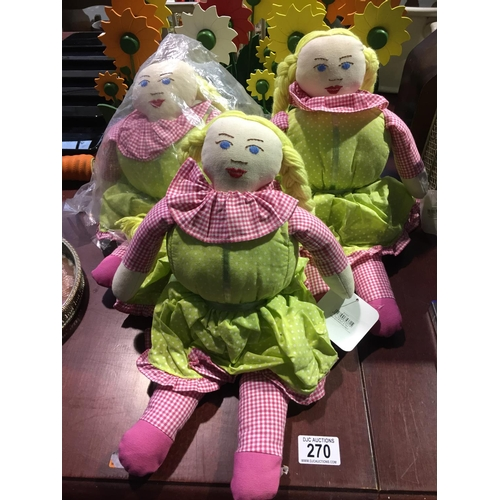 270 - 3 x Doll Doorstops - New...