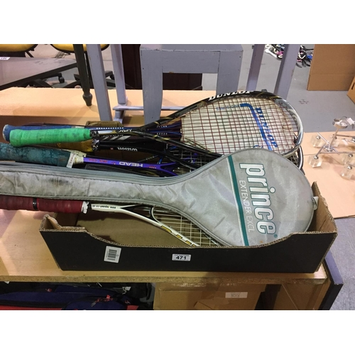 471 - Box of Squash Rackets...