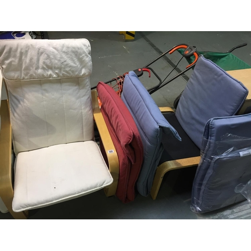 568 - Ikea Chair, Stool & Extra Cushions...