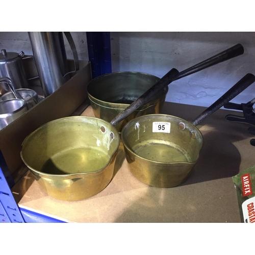 95 - 3 x Brass/Cast Pans...