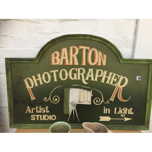 695 - Large Vintage Barton Photographer Wooden Sign...